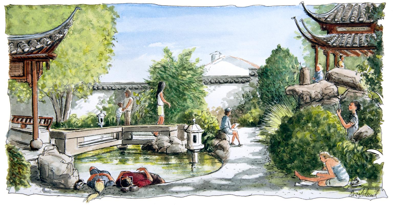 Der Chinesische Garten an der Birkenwaldstrasse in Stuttgart