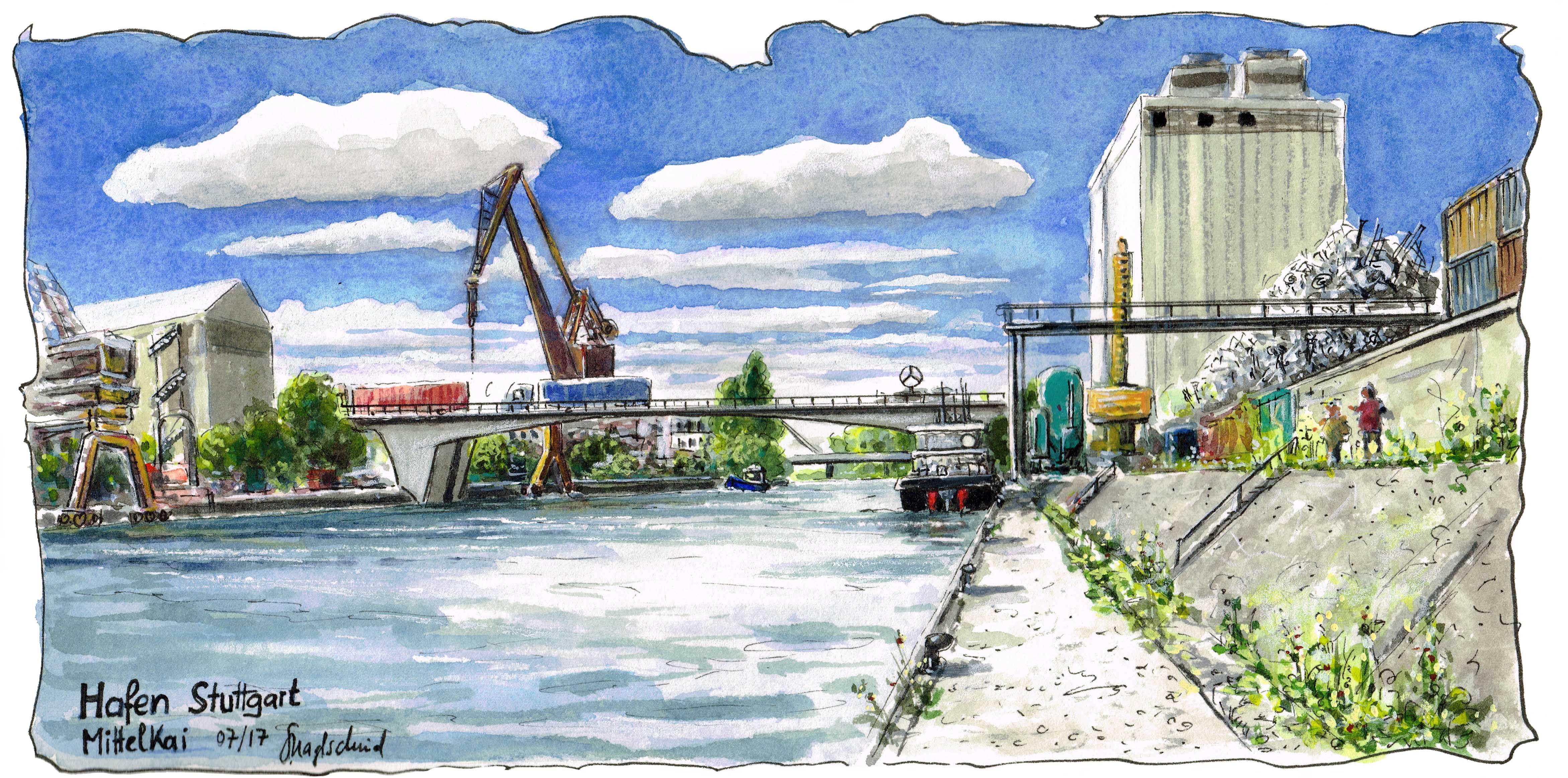Der Hafen (Mittelkai) in Stuttgart