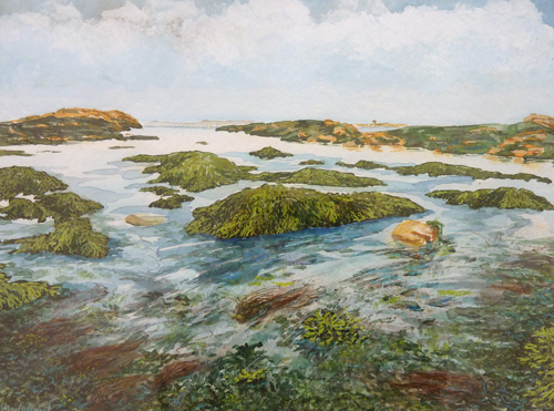 Bretagne - Ebbelandschaft - Aquarell