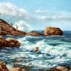 Drei Angler - Bretagne - Aquarell