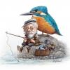 Eisvogel und der Angler