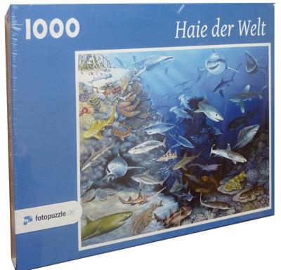 Puzzle 1000 Teile: Haie der Welt