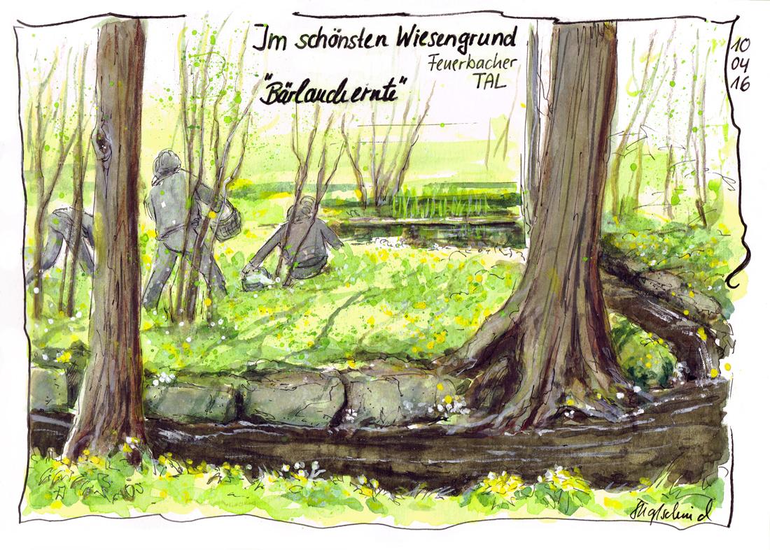 Bärlauch-Ernte - Reiseskizze - Fine-Art-Print
