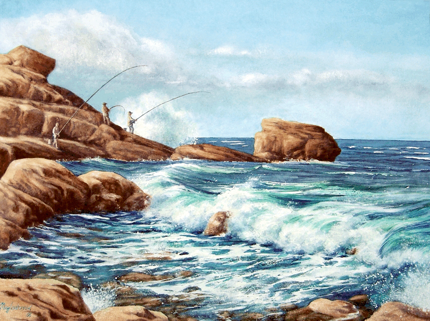 Drei Angler (Bretagne) Fine-Art-Print