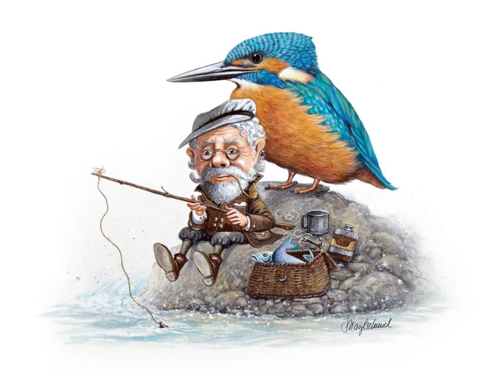 Eisvogel und Angler Fine-Art-Print