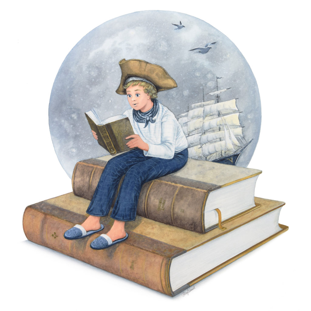 Klassische Illustration - Aquarell mit Blattvergoldung